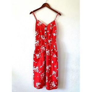 Red Floral Button Front Midi Dress